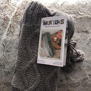 Muk Luks Cabin Socks Dark Grey L/XL